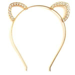 🎁 Gold and Rhinestone Cat Ears Headband